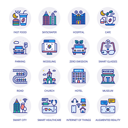 Smart City Filled Circle Icons