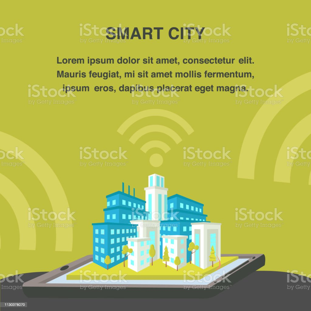 Smart City Flat Vector Banner Template vector art illustration