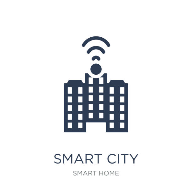 smart-city-symbol. trendige wohnung vektor smart city symbol auf weißem hintergrund von smart home-kollektion - smart city stock-grafiken, -clipart, -cartoons und -symbole