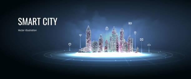 ilustrações de stock, clip art, desenhos animados e ícones de smart city. icons over the city. neon glowing cityscape. intelligent building automation night futuristic business concept. particles are connected in silhouette. сonstellation with dots and line. - smart city