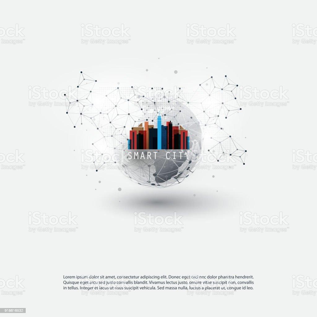 Smart City, Internet der Dinge-Design-Konzept – Vektorgrafik