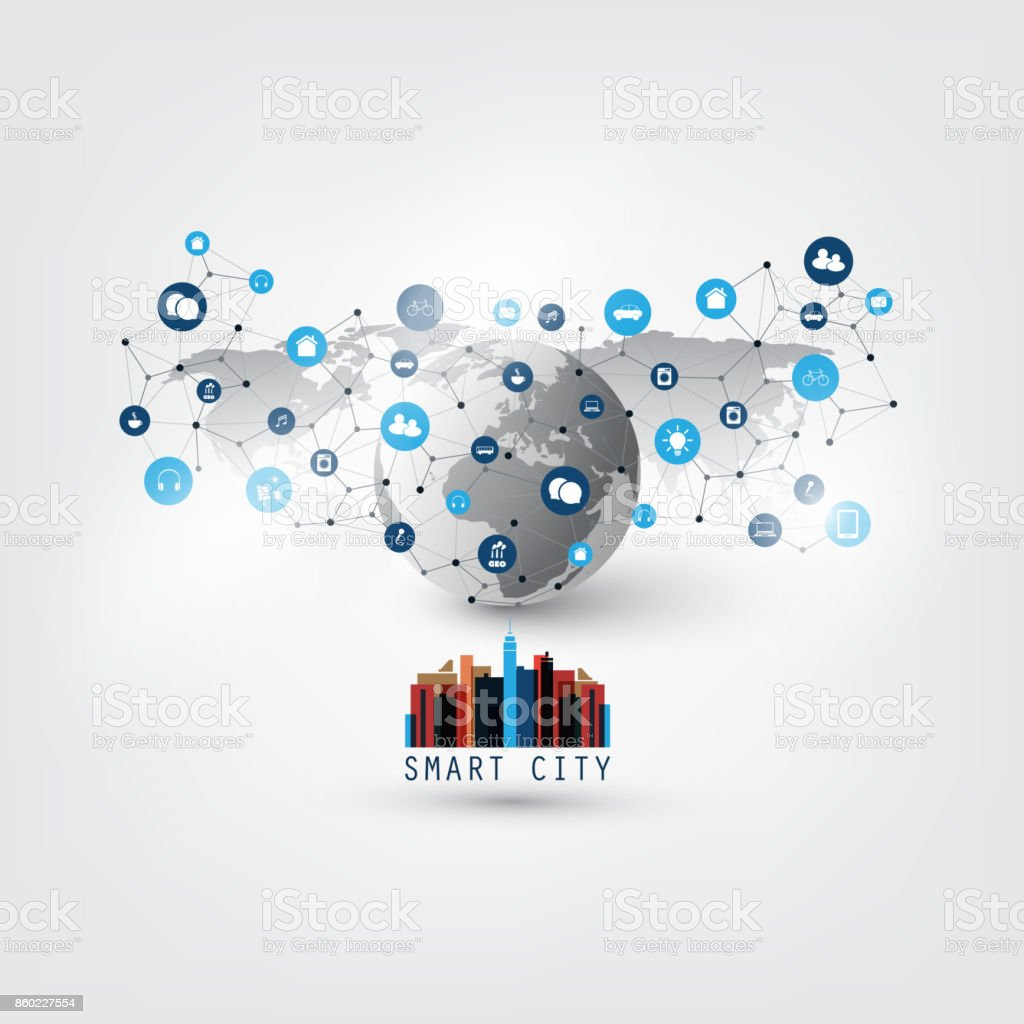 Smart City, Internet Of Things Design Concept With Icons vector art illustration