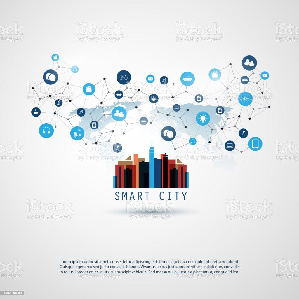 Smart City, Internet der Dinge-Design-Konzept mit Symbolen – Vektorgrafik