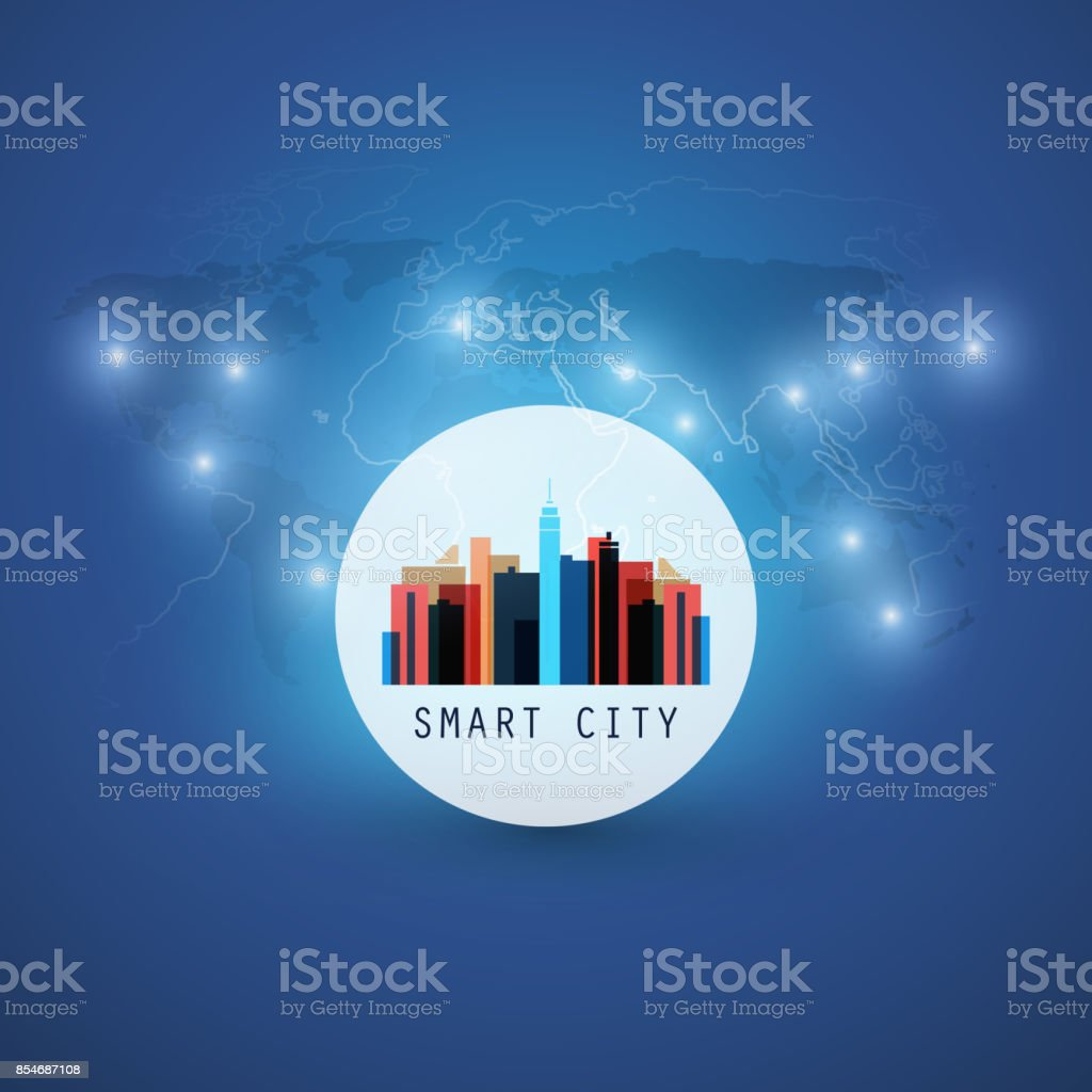 Smart City, Internet Of Things Design Concept With World Map vector art illustration