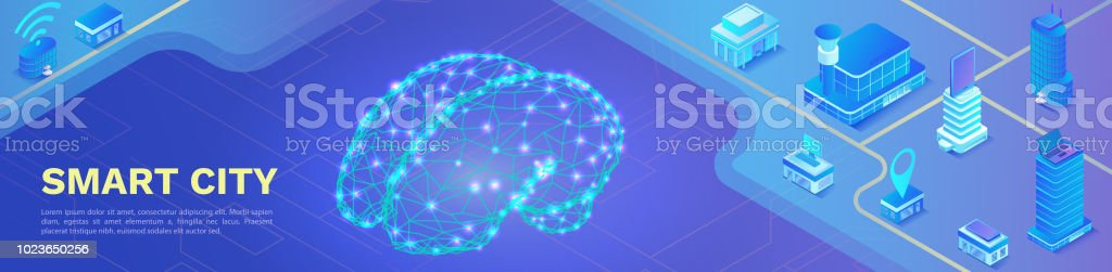 Bandera de ciudad inteligente ciudad isométricos, manejo de inteligencia artificial - ilustración de arte vectorial
