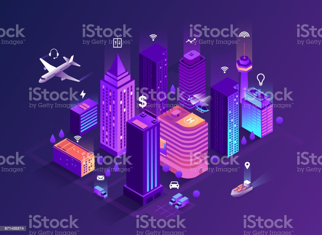 Dibujo isométrico de ciudad inteligente. Edificios inteligentes. Calles de la ciudad conexión a red de ordenadores. Internet del concepto de las cosas. Centro de negocios con rascacielos. 10 EPS ilustración de dibujo isométrico de ciudad inteligente edificios inteligentes calles de la ciudad conexión a red de ordenadores internet del concepto de las cosas centro de negocios con rascacielos 10 eps y más vectores libres de derechos de abstracto libre de derechos