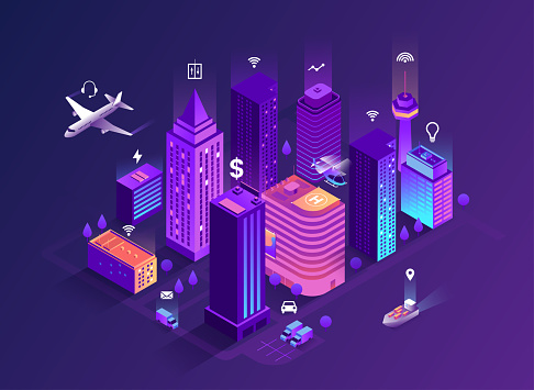 Smart City Isometric Illustration Intelligent Buildings Streets Of The City Connected To Computer Network Internet Of Things Concept Business Center With Skyscrapers Eps 10 — стоковая векторная графика и другие изображения на тему Абстрактный