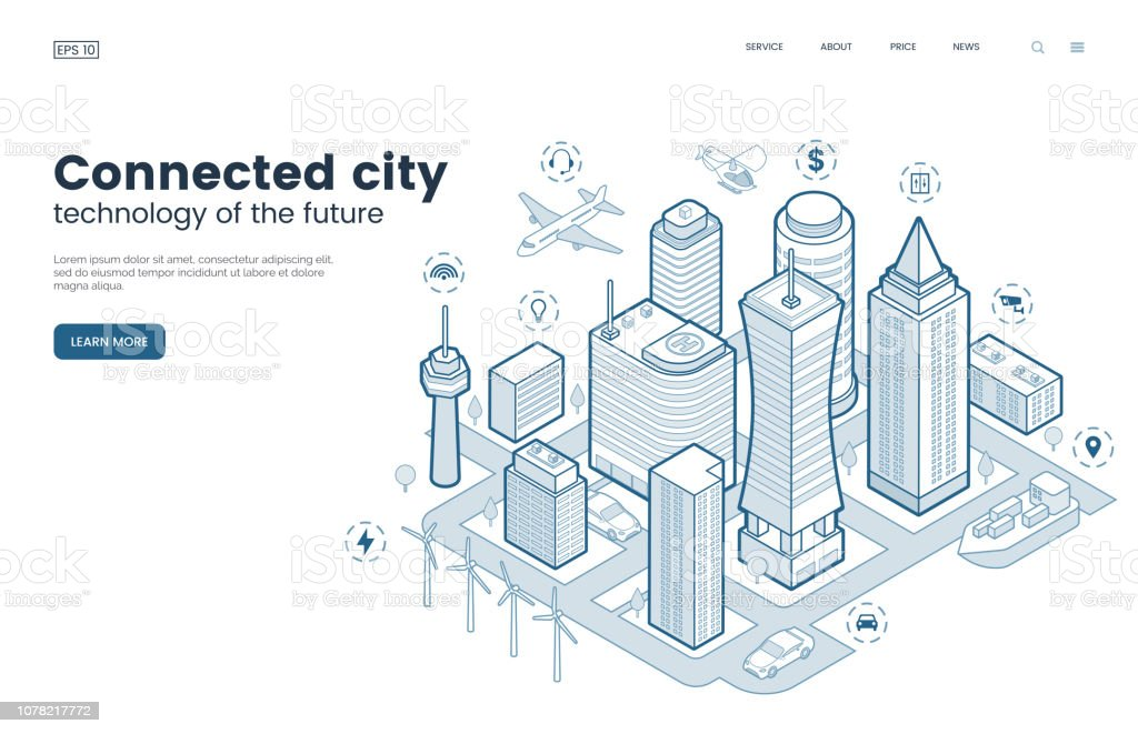 Smart city isometric thin line illustration. Intelligence buildings. Streets of the city connected to computer network. Urban infrastructure. Business center with skyscrapers. Vector eps 10. royalty-free smart city isometric thin line illustration intelligence buildings streets of the city connected to computer network urban infrastructure business center with skyscrapers vector eps 10 stock illustration - download image now