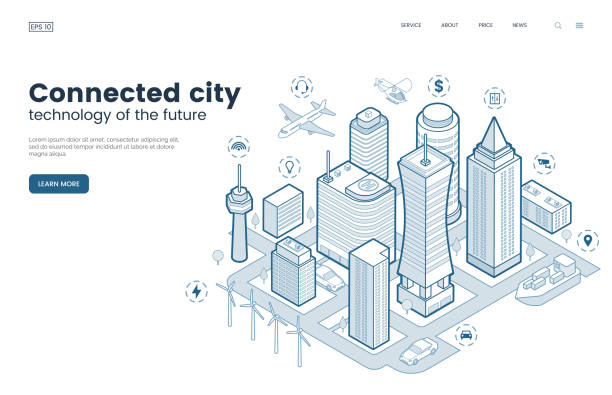Smart city isometric thin line illustration. Intelligence buildings. Streets of the city connected to computer network. Urban infrastructure. Business center with skyscrapers. Vector eps 10. Smart city isometric thin line illustration. Intelligence buildings. Streets of the city connected to computer network. Urban infrastructure. Business center with skyscrapers. Vector eps 10. smart city stock illustrations