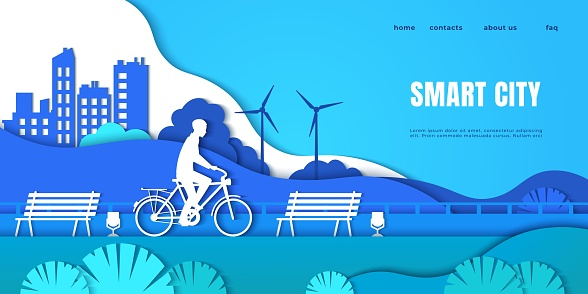 Smart city landing page. Cartoon man on electric vehicle, origami boy riding bicycle. Paper cut interface with headline and buttons. Ecological technology and electricity. Vector web site
