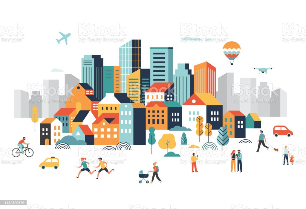 Smart city, landscape city center with many building, airplane is flying in the sky and people walking, running in park. Vector illustration - Векторная графика 5G роялти-фри
