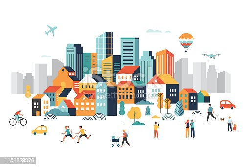 Smart city, landscape city center with many building, airplane is flying in the sky and people walking, running in park. Vector illustration