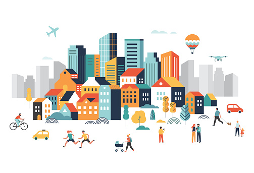Smart city, landscape city center with many building, airplane is flying in the sky and people walking, running in park. Vector illustration clipart