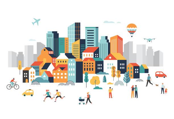 智慧城市, 景觀市中心有許多建築, 飛機在天空中飛行, 人們在公園裡行走, 奔跑。向量例證 - 插圖 幅插畫檔、美工圖案、卡通及圖標