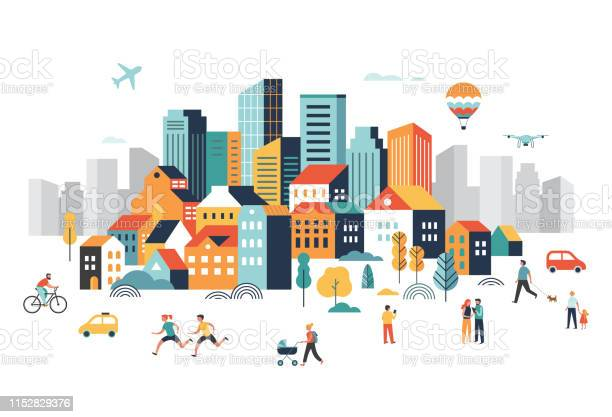 Smart City Landscape City Center With Many Building Airplane Is Flying In The Sky And People Walking Running In Park Vector Illustration - Arte vetorial de stock e mais imagens de 5G