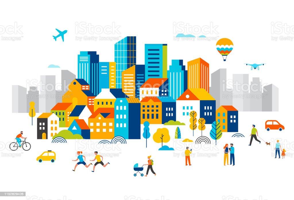 スマートシティは、多くの建物を持つ景観都市の中心部は、飛行機が空を飛んでいると公園で実行している人々は、歩いています。ベクターイラスト - つながりのロイヤリティフリーベクトルアート