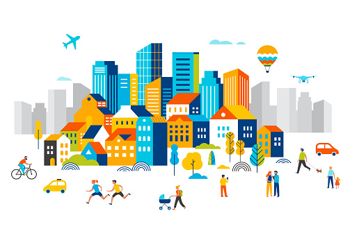 Smart city, landscape city centre with many building, airplane is flying in the sky and people walking, running in park. Vector illustration