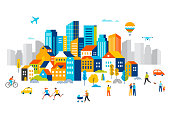 Smart city, landscape city centre with many building, airplane is flying in the sky and people walking, running in park. Vector illustrationSmart city, landscape city center with many building, airplane is flying in the sky and people walking, running in park. Vector illustration