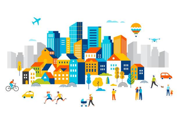 ilustraciones, imágenes clip art, dibujos animados e iconos de stock de ciudad inteligente, paisaje centro de la ciudad con muchos edificios, avión está volando en el cielo y la gente caminando, corriendo en el parque. ilustración vectorial - ciudad