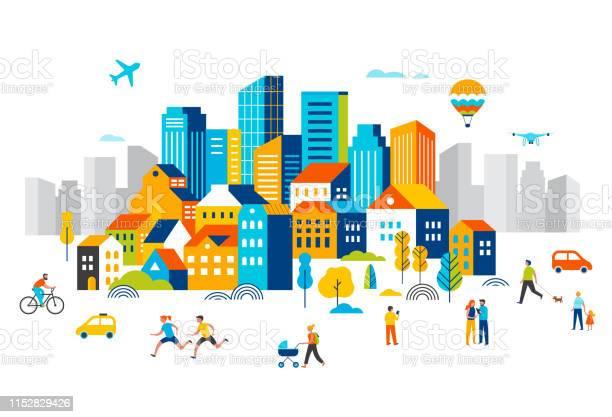 スマートシティは多くの建物を持つ景観都市の中心部は飛行機が空を飛んでいると公園で実行している人々は歩いていますベクターイラスト - つながりのベクターアート素材や画像を多数ご用意