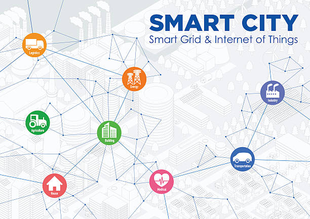smart city line drawing illustration with various technological icons - smart city stock-grafiken, -clipart, -cartoons und -symbole