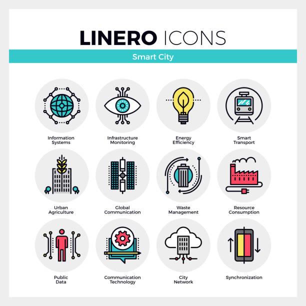 smart city linero icons set - smart city stock-grafiken, -clipart, -cartoons und -symbole