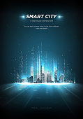 Smart city low poly wireframe on blue background.City future abstract or metropolis.Intelligent building automation. Binary code stream. Polygonal space low poly with connected dots and lines.Vector