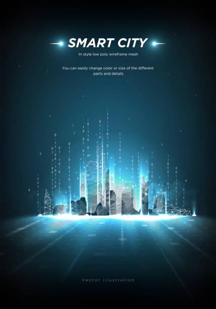 smart city low poly wireframe na niebieskim tle. miasto przyszłości abstrakcji lub metropolii. inteligentna automatyzacja budynków. strumień kodu binarnego. wielokątna przestrzeń nisko poli z połączonymi kropkami i liniami. wektor - futurystyczny stock illustrations
