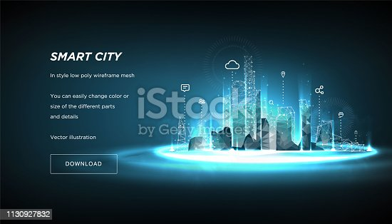 Smart city low poly wireframe on blue background.City future abstract or metropolis.Intelligent building automation system business concept.Polygonal space low poly with connected dots and lines.Vecto