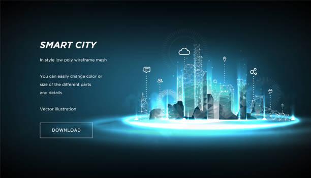 smart city low poly wireframe na niebieskim tle. miasto przyszłości abstrakcji lub metropolii. koncepcja biznesowa inteligentnego systemu automatyki budynku. wielokątna przestrzeń nisko poli z połączonymi kropkami i liniami. vecto ( vecto ) - futurystyczny stock illustrations