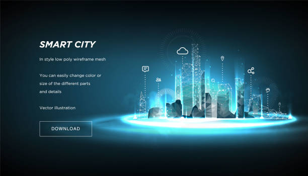 smart city low poly wireframe on blue background.city future abstract or metropolis.intelligent building automation system business concept.polygonal space low poly with connected dots and lines.vecto - futurystyczny stock illustrations
