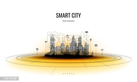 Smart city low poly wireframe on white background.City hi tech abstract or metropolis. Infographic automation system business concept.Polygonal space low poly with connected dots and lines