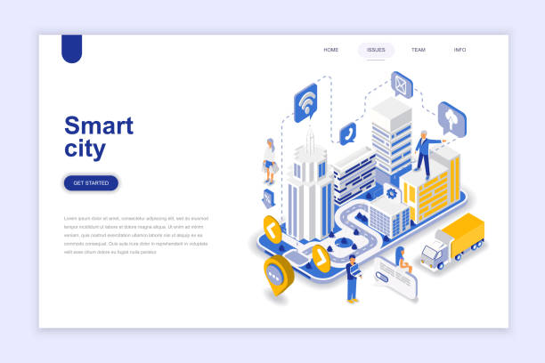 ilustrações de stock, clip art, desenhos animados e ícones de smart city modern flat design isometric concept. - smart city