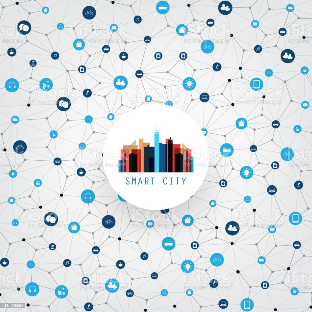 Smart City, Networks, Internet Of Things Design Concept royalty-free smart city networks internet of things design concept stock vector art & more images of alternative energy