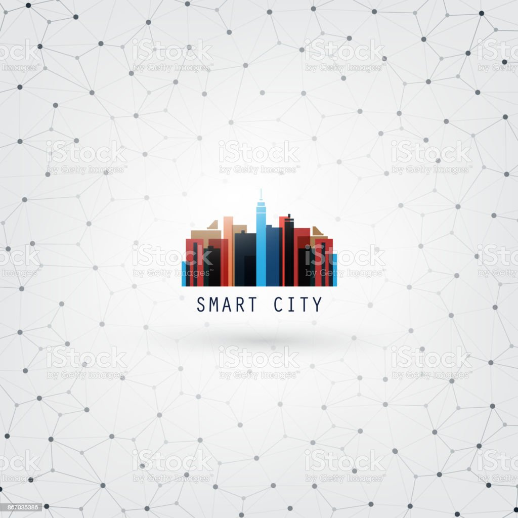 Smart City, Networks, Internet Of Things Design Concept vector art illustration