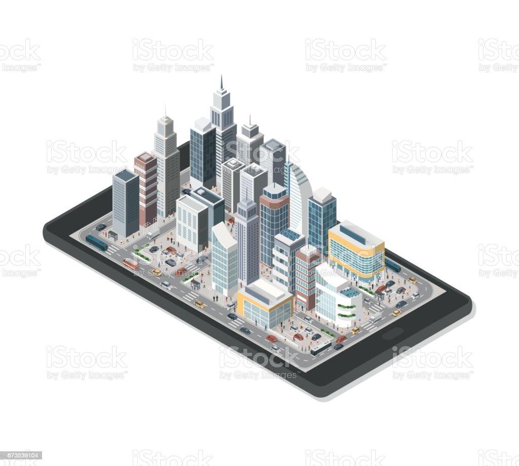 Smart city on a smartphone vector art illustration