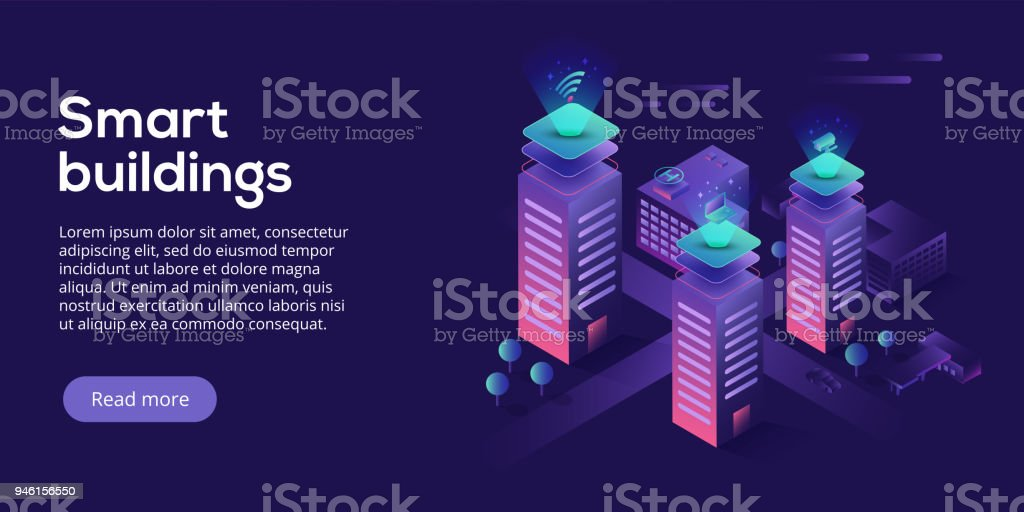 Smart city or intelligent building isometric vector concept. Building automation with computer networking illustration. Management system or BAS thematical background. IoT platform as future technology. royalty-free smart city or intelligent building isometric vector concept building automation with computer networking illustration management system or bas thematical background iot platform as future technology stock illustration - download image now