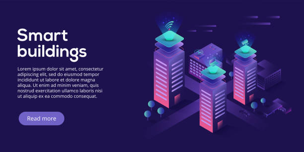 Smart city or intelligent building isometric vector concept. Building automation with computer networking illustration. Management system or BAS thematical background. IoT platform as future technology. vector art illustration