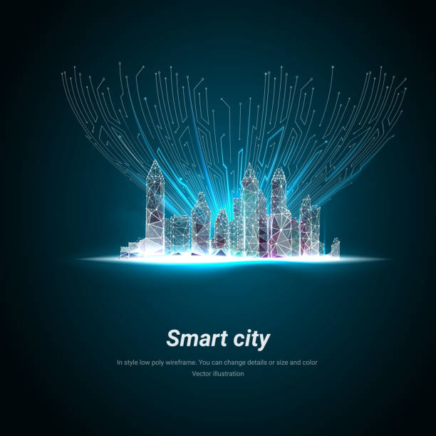 ilustrações de stock, clip art, desenhos animados e ícones de smart city or intelligent building. low poly wireframe. building automation with computer networking illustration. management system or thematical background. plexus lines and points in silhouette. - smart city