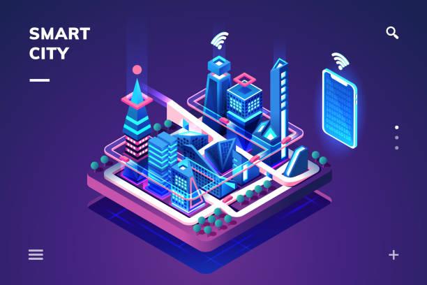 ilustrações de stock, clip art, desenhos animados e ícones de smart city or isometric town with iot or gps tech - smart city
