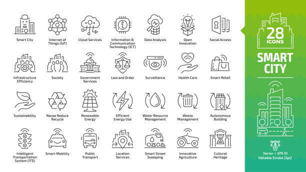 smart city outline icon set with infrastructure efficiency technology, future digital urban, autonomous building and home, internet of things, innovation business editable stroke line symbols. - sustainability stock illustrations