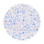 Smart City Related Pattern with Icons. Modern Line Style Vector Illustration