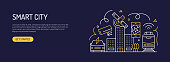 Smart City Related Web Banner Line Style. Modern Design Vector Illustration for Web Banner, Website Header etc.