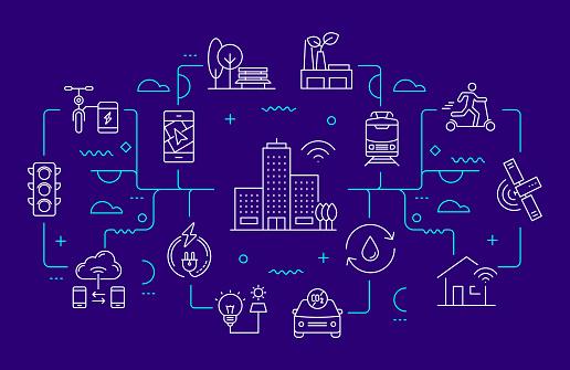 Smart City Related Web Banner Line Style. Modern Linear Design Vector Illustration