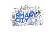 Smart City Related Web Banner Line Style. Modern Linear Design Vector Illustration for Web Banner, Website Header etc.
