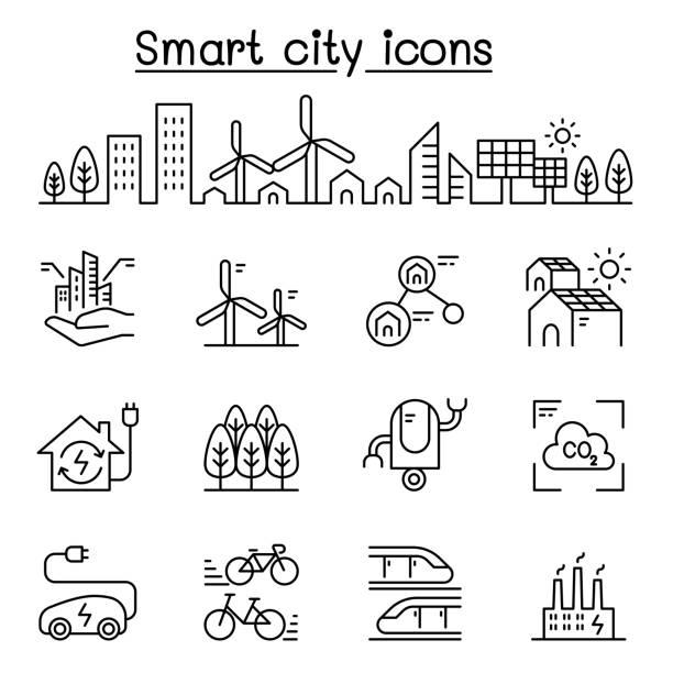 ilustrações de stock, clip art, desenhos animados e ícones de smart city, sustainable town, eco friendly city icon set in thin line style - smart city