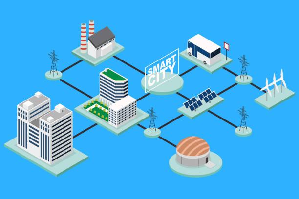 Smart City Technology Conceptual Isometric Illustration vector art illustration