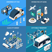 Smart city isometric concept icons set with clean city symbols isolated vector illustration