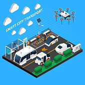 Smart city isometric concept with transport and taxi point symbols vector illustration