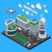 Smart city technology isometric concept with transport and clean city symbols vector illustration